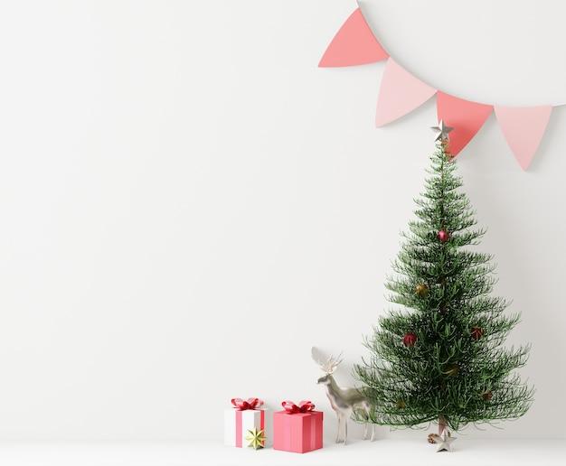 Tło świąteczne dekoracje, pusta ściana na miejsce