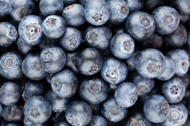 Tło świeże jagody z miejsca kopiowania tekstu. projekt obramowania. koncepcja wegańska i wegetariańska. makro tekstury jagód czernicy. zdrowa żywność latem. transparent.