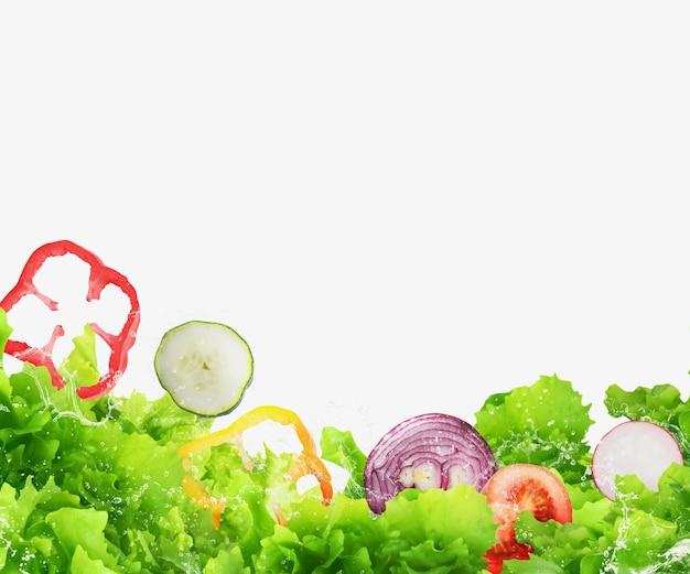 Tło świeżej sałatki. zdrowa żywność dla koncepcji odnowy biologicznej