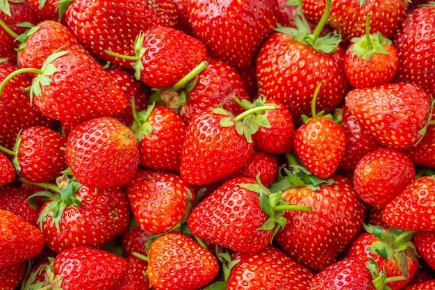 Tło świeżych organicznych owoców truskawek