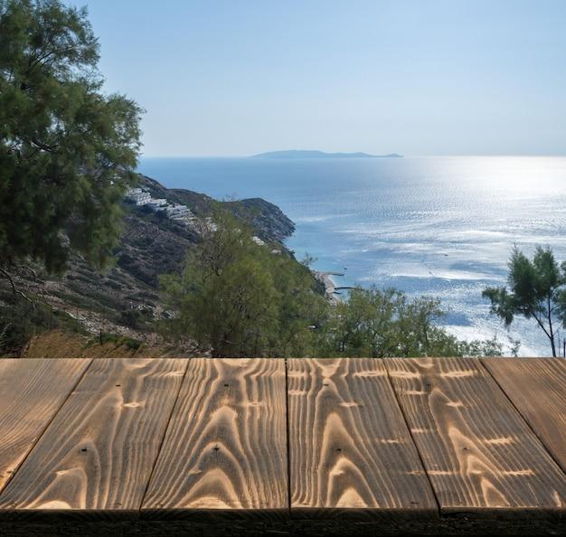 Tło tabeli poza widokiem na morze