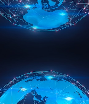 Tło technologii cyfrowej, globalne połączenie