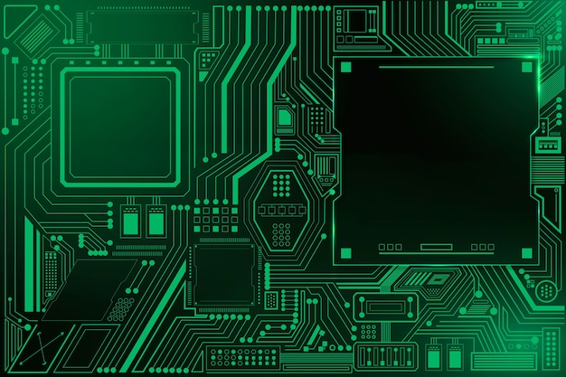 Tło technologii obwodu płyty głównej w kolorze gradientowym zielonym