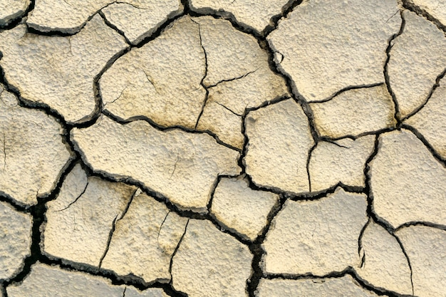 Tło, tekstura - pęknięcia w suchej gliniastej glebie ze śladami kropli deszczu