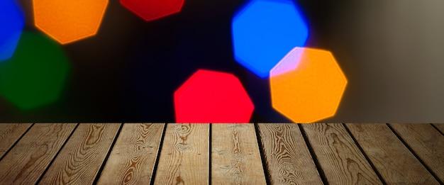 Tło to pusta drewniana deska i ściana z rozmytych świateł bokeh do demonstracji produktu
