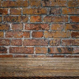 Tło to puste drewniane deski i teksturowana ceglana ściana z oświetleniem i winietowaniem