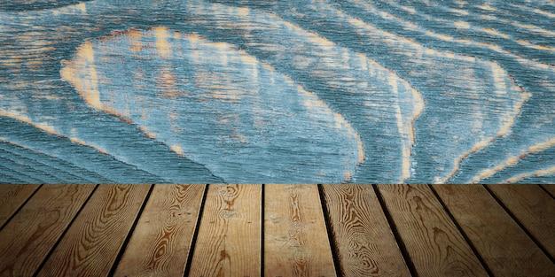 Tło to puste drewniane deski i teksturowana ściana z oświetleniem i winietowaniem
