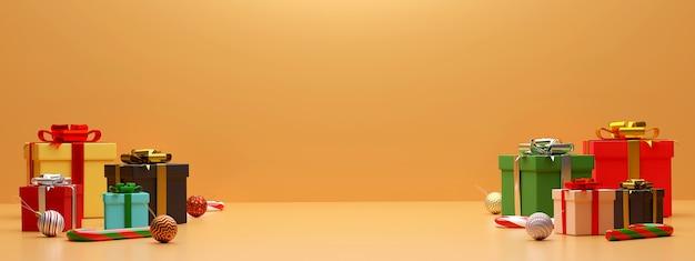 Tło transparent prezentów i dekoracji renderowania 3d