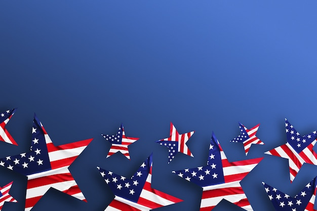 Tło usa z amerykańską flagą zdobione gwiazdami. widok z góry wzór wakacje. płaski baner świecki