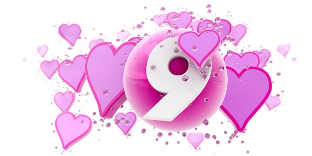 Tło w kolorze różowym z sercami i kulkami oraz numerem dziewięć