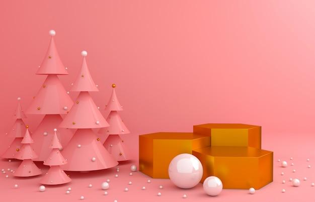 Tło w kolorze złotym i różowa sosna do prezentacji produktu