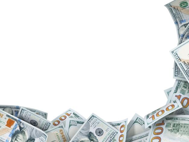 Tło w prawym rogu nowych banknotów dolarowych z miejscem na tekst