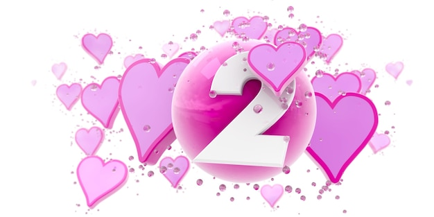 Tło w różowych kolorach z sercami i kulkami