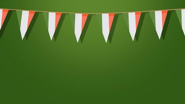 Tło wakacje saint patrick day z flagami irlandii. luksusowy i elegancki styl ilustracji 3d na wakacje