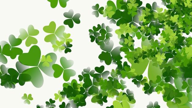 Tło wakacje saint patrick day z zielonymi koniczynkami. luksusowy i elegancki styl ilustracji 3d na wakacje