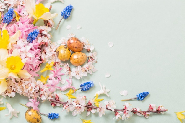 Tło wielkanoc z jajkami i kwiatami