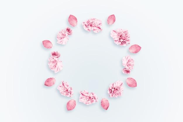 Tło wiosna, różowe, czerwone i białe goździki na jasnym tle.