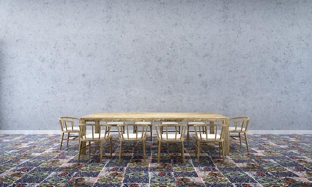 Tło wnętrza domu z drewnianym stołem i krzesłami oraz makieta wystrój w jadalni betonowa ściana tekstura renderowania 3d
