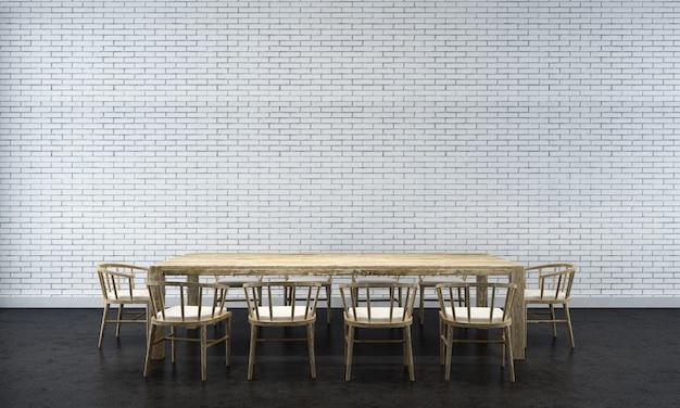 Tło wnętrza domu z drewnianym stołem i krzesłami oraz makieta wystrój w jadalni ceglana ściana tekstura renderowania 3d