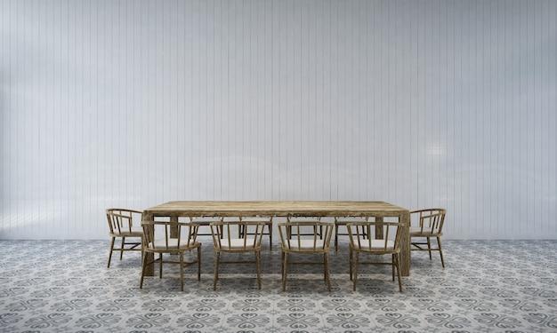 Tło wnętrza domu z drewnianym stołem i krzesłami oraz makieta wystrój w jadalni i biała ściana tekstury renderowania 3d