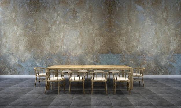 Tło wnętrza domu z drewnianym stołem i krzesłami oraz makieta wystrój w jadalni i retro betonowa ściana tekstury renderowania 3d