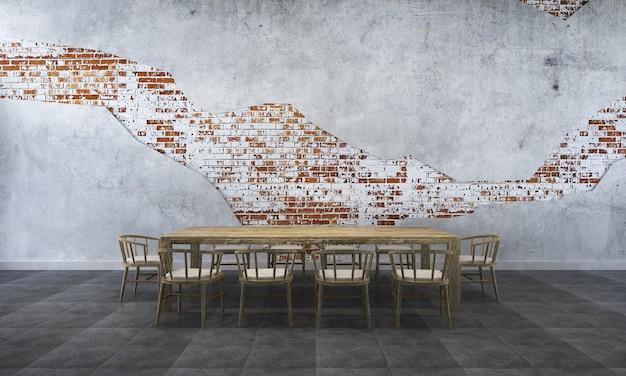 Tło wnętrza domu z drewnianym stołem i krzesłami oraz makieta wystrój w jadalni i stylu loftu betonowa ściana tekstury renderowania 3d