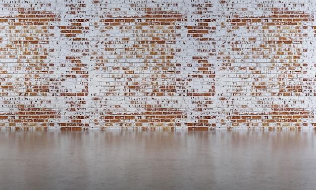 Tło wnętrza domu z drewnianym stołem i krzesłami oraz makieta wystrój w pustym pokoju i tekstury ściany z czerwonej cegły 3d render