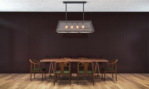 Tło wnętrza domu z drewnianym stołem i krzesłami oraz makiety wystroju w jadalni i czarnej ścianie tekstury renderowania 3d