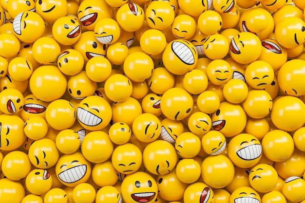 Tło wykonane z różnych znaków emotikonów emoji. ilustracja renderowania 3d.