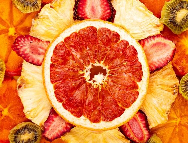 Tło Wysuszone Owoc I Cytrusy Zamykamy W Górę Widoku Darmowe Zdjęcia