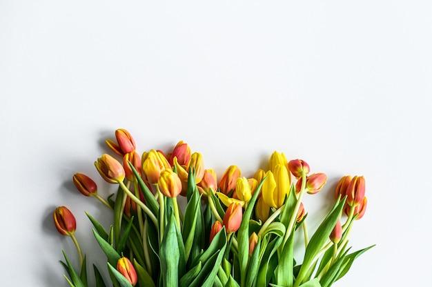 Tło z bukietem żółtych, pomarańczowych i czerwonych tulipanów. białe tło. widok z góry. skopiuj miejsce