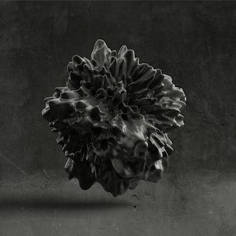 Tło z czarnym kształtem, tekstura. ilustracja, renderowanie 3d.