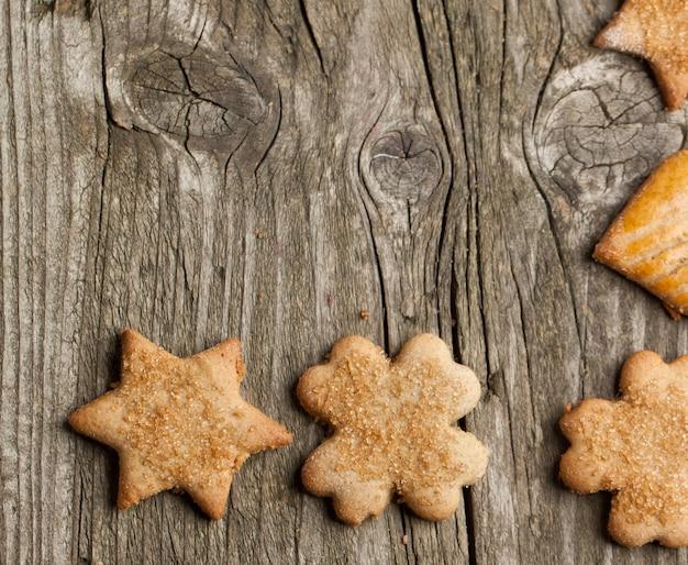 Tło z drewna i ciasteczka