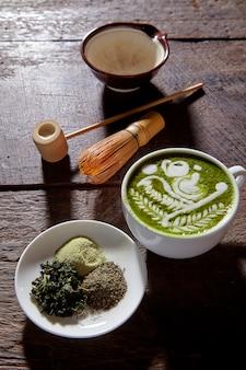 Tło z drewna latte matcha