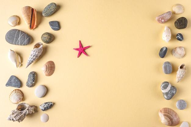 Tło z kolekcji kamieni muszelek i rozgwiazdy