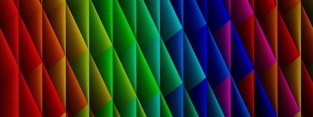 Tło z kolorowych rombów, kształtów geometrycznych, renderowania 3d, obrazu panoramicznego