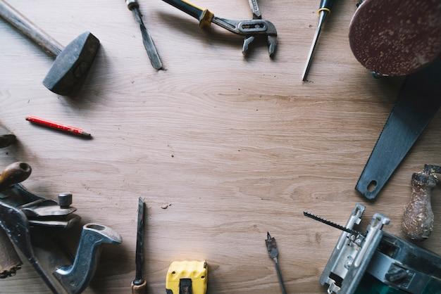 Tło z narzędziami i copyspace