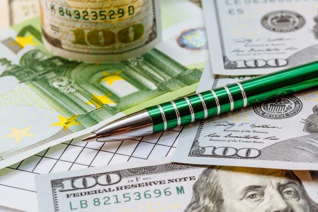Tło z pieniędzmi. amerykańskie sto dolarowe banknoty. banknoty euro. długopis obok rachunków. pieniądze. waluta.