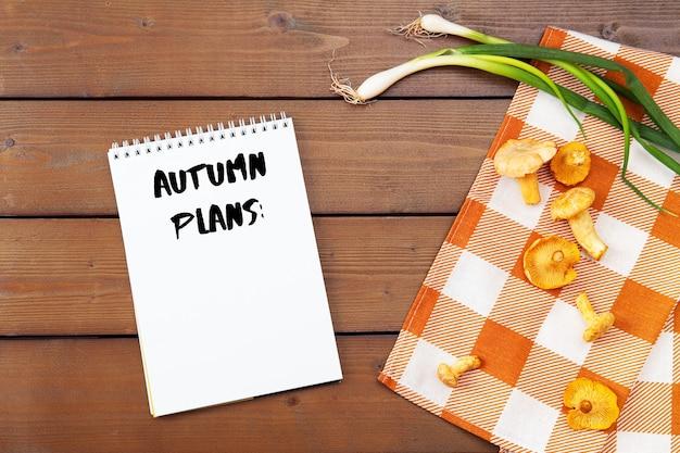 Tło z surowymi kurkami złotymi. sezonowe grzyby, zbiory na drewnianym stole z serwetką w kratkę i zieloną cebulką. pusta biała kartka z tekstem jesienne plany, sprawy na jesień.