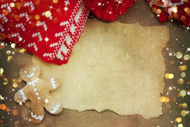 Tło z świątecznych rzeczy do robienia na drutach