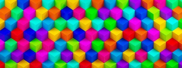 Tło z wielokolorowych kostek 3d, geometryczne tło, renderowanie 3d, obraz panoramiczny