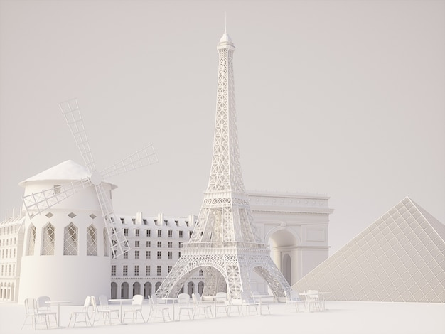 Tło zabytki paryża. wysokiej jakości renderowanie 3d