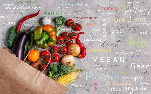 Tło zdrowej żywności warzyw fotografowane z góry. koncepcja prawdziwej żywności z najpopularniejszymi terminami