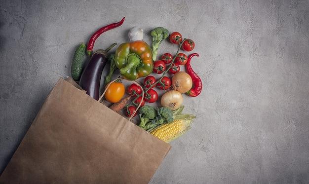 Tło zdrowej żywności warzyw fotografowane z góry