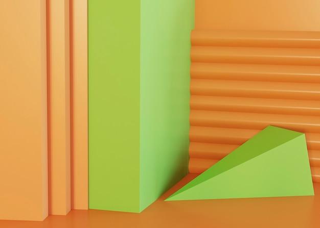 Tło zielony i pomarańczowy kształty geometryczne