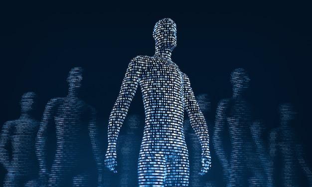 Tłum chodzenia cyfrowych ludzi renderowania 3d