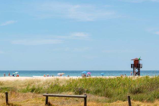 Tłumy turystów i kąpiących się w słońcu bawiących się i pływających w pobliżu wieży ratowniczej w kadyksie w hiszpanii
