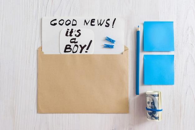 To kartka okolicznościowa dla chłopca w kopercie