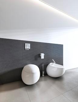 Toaleta i bidet w białej łazience. renderowanie 3d