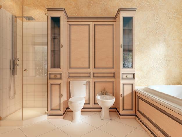 Toaleta i bidet w klasycznej łazience. dwie szafki z półkami i stolikami nocnymi. renderowanie 3d